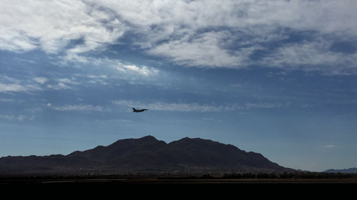 Sortie taking off from Nellis Air Force Base during Red Flag training.